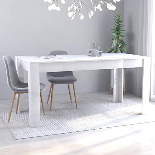 SKM Tavolo da Pranzo da Sala 160x80x76 cm in Truciolato Minimalismo (Bianco Lucido)