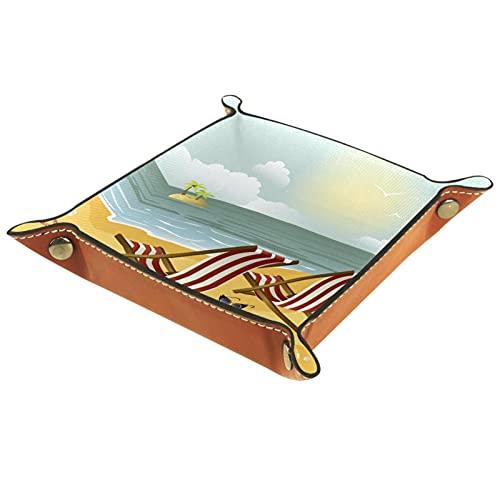Bandeja de cuero,Dos chaise Longue Beach ,Bandeja de cuero plegable para reloj de joyería de monedas de llave de almacenamiento