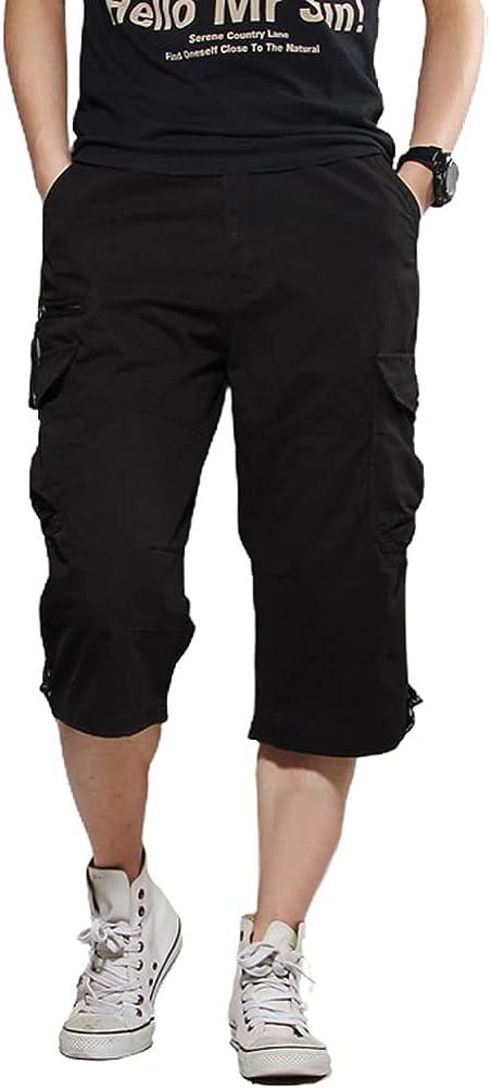 chouyatou Men's Elastic Waist 3/4 Capri Cargo Shorts with Removable Buckle Belt