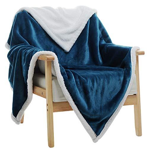 XUMINGLSJ Mantas para Sofa, Mantas para Cama de Franela Reversible, Mantas Ligeras de 100% Microfibra - Fácil De Limpiar - Extra Suave Cálido -Azul_El 120 × 80cm