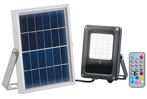 Luminea Solar Strahler RGB: Solar-LED-Fluter für außen, RGBW, 10 Watt, mit Fernbedienung & Timer (Solar Strahler mit Fernbedienung)