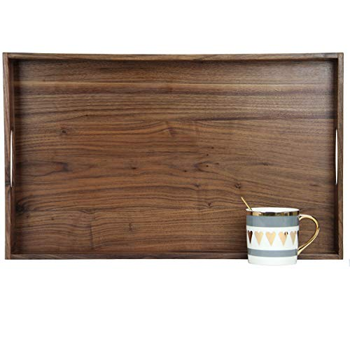 MAGIGO 22 x 14 Inches Large Rectangle Black Walnut Wood Ottoman Tray with Handles Serve Tea Coffee or Breakfast in Bed Classic Wooden Decorative Serving Tray