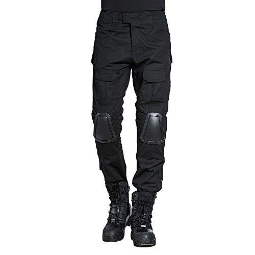 SINAIRSOFT Zapt Tactical Pants Tactical Pants with Knee Pads Army Airsoft Combat BDU Pants Black (Pants,Medium)
