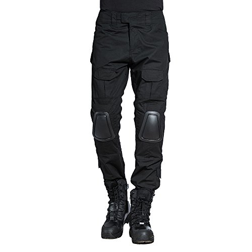 SINAIRSOFT Paintball Pants Tactical Pants with Knee Pads Army Airsoft Combat BDU Pants Black (Pants,Small+)