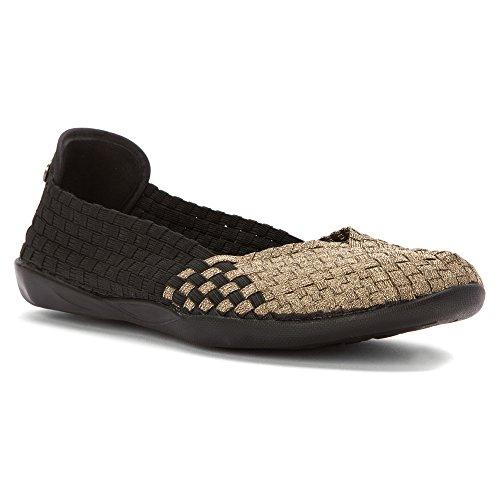 Bernie Mev Women's Braided Catwalk Black / Bronze Flats - 8.5 B(M) US