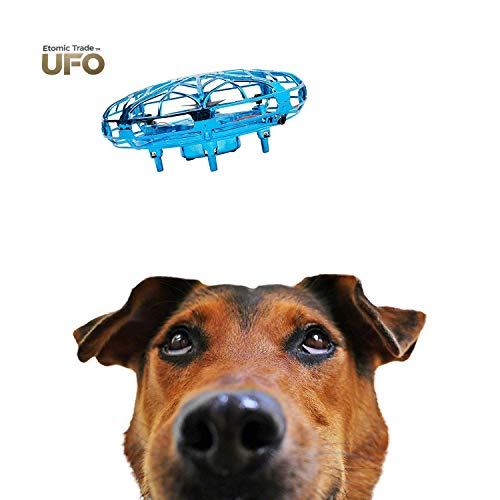Etomic Trade Hand Operated Drones For Kids-Small Drone-UFO Toy-Mini Quadcopter-UFO Drone-High Tech-Hand Controlled-Boy Girl Toy-Alien Hovercraft-Drone Mini-Rechargeable-2 Speed with LED Lights (Blue)