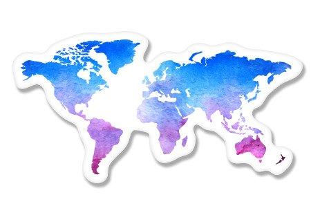 World Map Watercolor Vinyl Sticker - Car Phone Helmet - Select Size