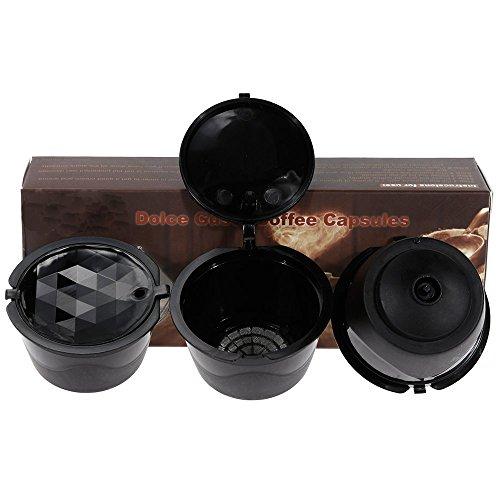 Paide [3 pezzi] Capsule del caffè ricaricabili e riutilizzabili–Dolce Gusto. Nero