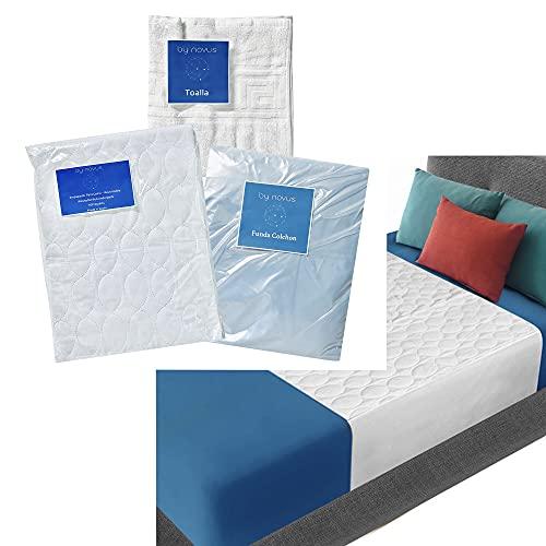 Incontinencia Urinaria de Adultos - Pack Ahorro de 2 Empapadores Lavables Reutilizable Transpirable 90X85 - Funda Impermeable para Cama - 1 Toalla - Kit Geriatrico