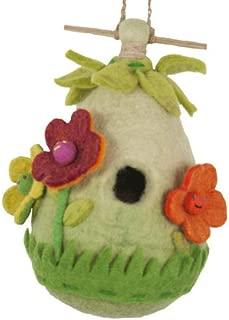 DZI Handmade Designs DZI484016 Friendly Flower Felt Birdhouse, White and Red