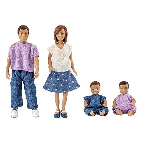 Lundby 60-806300 - Biegepuppen für Puppenhaus - Familie - 4-teilig - Puppenhauszubehör - Kunststoff-Puppen m. ausziehbarer Kleidung - Figuren - Eltern, Kinder - Zubehör - ab 3 Jahre - Minipuppen 1:18