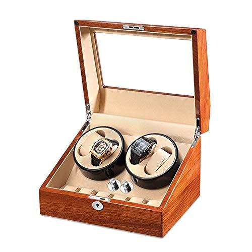 Sunmong Caja enrolladora de 4 Relojes de Cuero PU para Relojes automáticos con 6 almacenamientos y Motor silencioso, 5 Modos de rotación, Almohada Suave y Carga de 3 vías (Color: B)