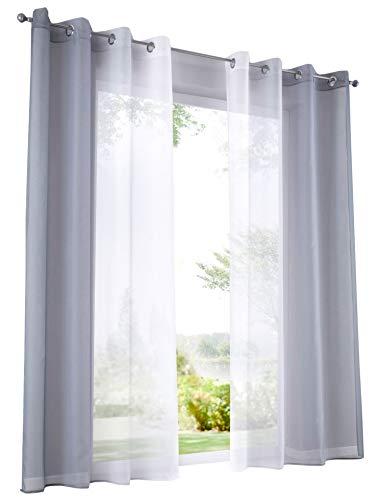BAILEY JO 2er-Pack Gardinen mit Verlauf-Farben Muster Vorhang Transparent Voile Vorhänge (BxH 140x145cm, Grau mit Ösen)