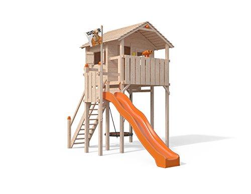 ISIDOR Domizilio Spielturm ohne Schaukelanbau, inkl. Sicherheitstreppe, XXL Rutsche, Balkon und Nestschaukel auf bis zu 2,00m Podesthöhe (Orange)