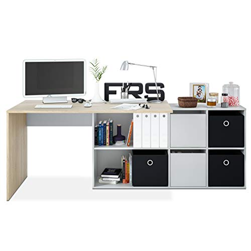 Habitdesign Mesa Escritorio, Mesa despacho Reversible, Estudio, Modelo Adapta XL, Acabado en Roble Canadian y Blanco Artik