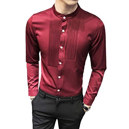 Camisa de Vestir de Manga Larga con Cuello Alto de Moda para Hombres Camisas con Botones Formales de Negocios Informales y Ajustados sólidos XL
