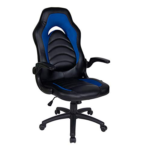 Polar Aurora Office Chair Leather Desk High Back Ergonomic Adjustable Racing Chair Task Swivel Executive Computer Chair (Blue & Black)