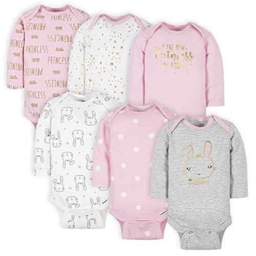 Gerber Baby Girls' 6-Pack Long-Sleeve Onesies Bodysuits, Princess Pink, 12 Months