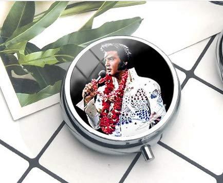 bab Kompakte Pillendose mit 3 Fächern, für Taschen oder Geldbörse, dekorative Pillendose mit Geschenk-Box, Elvis Presley Anhänger, Elvis Presley, die Pillendose, Schmuck