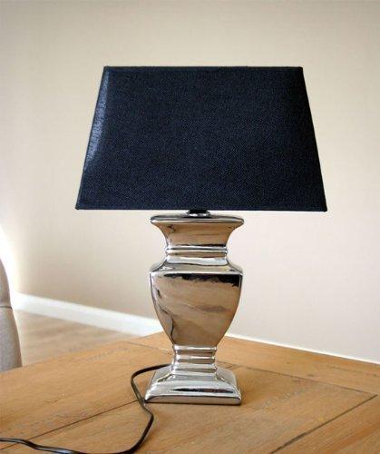 DRULINE Tischlampe Tischleuchte Keramik in Silber mit schwarzen Schirm 52 cm