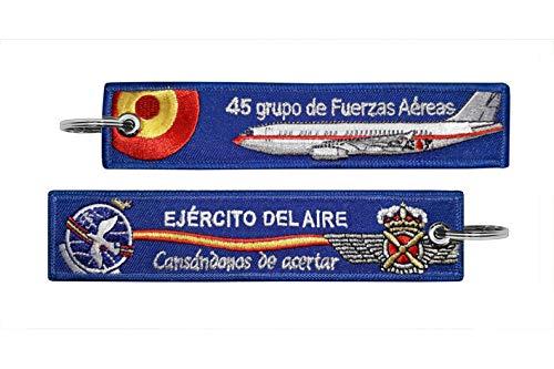Tacro Llavero Bordado Ejército del Aire Español 45 grupo de Fuerzas Aéreas, Cansándonos de Acertar, Azul