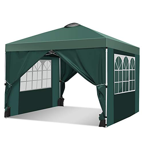 OUTCAMER Garden Gazebo Marquee 3x3 Pavilion Foldable Tent Fully Waterproof Garden Pavilion for Outdoor Wedding Garden Party with Packing Bag with 4 sides and 4 sandbags