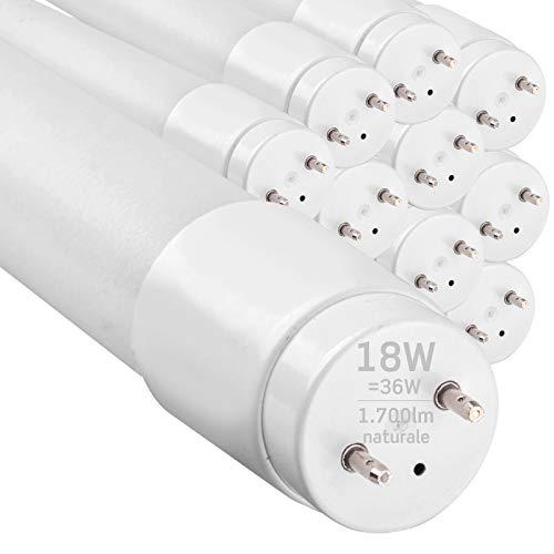 10x Tubi LED 120cm G13 T8 18W Professionale Garanzia 5 Anni 1700 lumen - Luce Bianco Naturale 4000K - Fascio Luminoso 160° - Sostituzione Neon