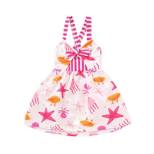 YOUNGER TREE Toddler Baby Girl Summer Dress sea Animal Print Sleeveless Backless Casual Strap Skirt Sundress (sea Animal, 3-4 T)