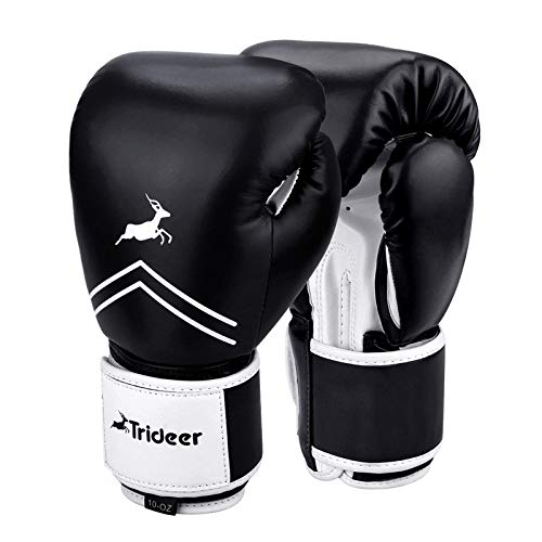 Trideer Pro Grade Boxing Gloves, Kickboxing Bagwork Gel Sparring Training Gloves, Muay Thai Style Punching Bag Mitts, Fight Gloves Men & Women (Black & White, 10 oz)