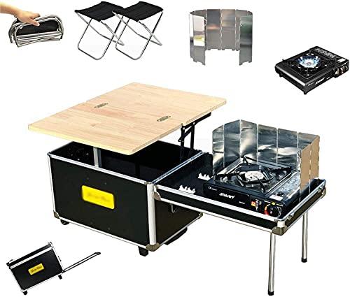 Luyol Caja de almacenamiento multifuncional de 55 l de capacidad para acampar al aire libre, con ruedas, plegable, portátil, camping, picnic, mesa de té para picnic (tamaño B: B)