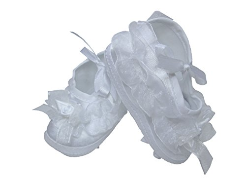 Girls Organza Trim Bootie Ideal for Christening Baptism Blessing or any Special Occasion - Size 0
