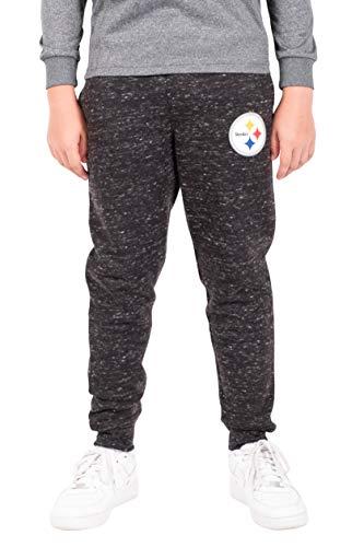 Ultra Game NFL Pittsburgh Steelers Boys Extra Soft Black Snow Fleece Jogger Sweatpants, Black Snow, 10/12