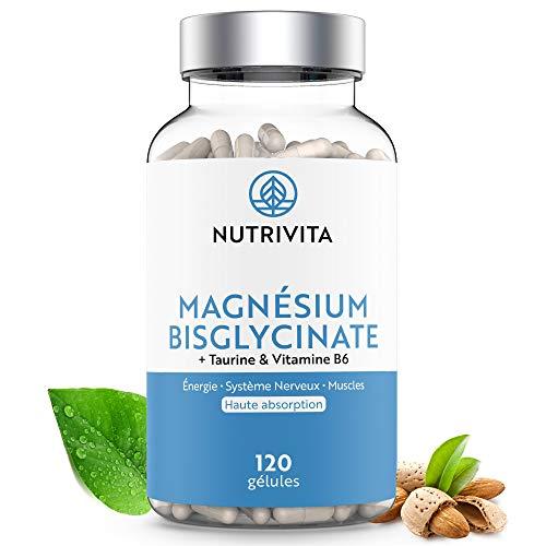Magnesium Bisglycinate + Taurine & Vitamine B6 | Haute Teneur & Absorption Maximale | Complément Anti-Fatigue & Anti-Stress | 120 gélules végétales | Fabriqué en France | Nutrivita