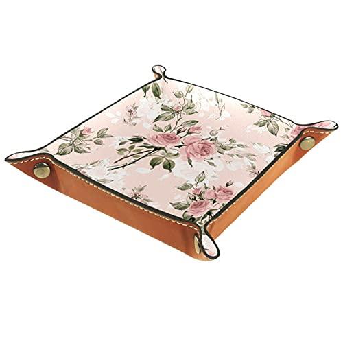 Rose boccioli e foglie, Vassoi in Pelle Valigia Vassoio per Chiave Moneta Gioielli Dice Portafoglio Personalizzato Utility Tray per Home Office Decor