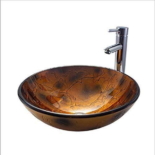 LIANGANAN Grifo de Baño Lavabo de cristal templado sobre el lavabo contrario baño lavabo del arte redondo fino lateral Lavabo Hermosa práctica (Color : Brass)