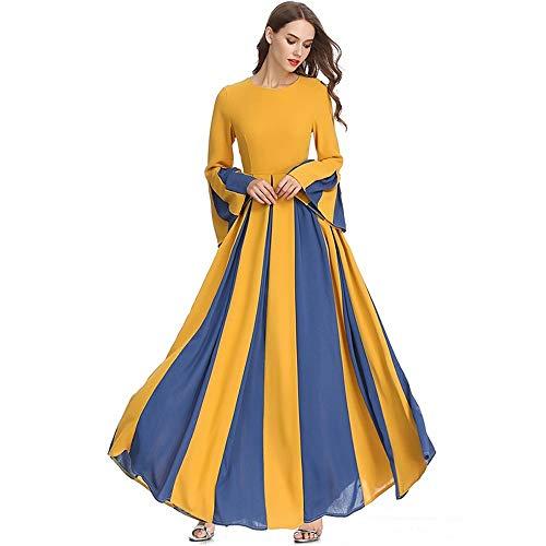 EVFIT Letnie sukienki muzułmańskie damskie długie spódnice jesienne trąbki wąskie mop szyfon kolor sukienka ślubna damska sukienka imprezowa (kolor: Żółty, rozmiar: L)