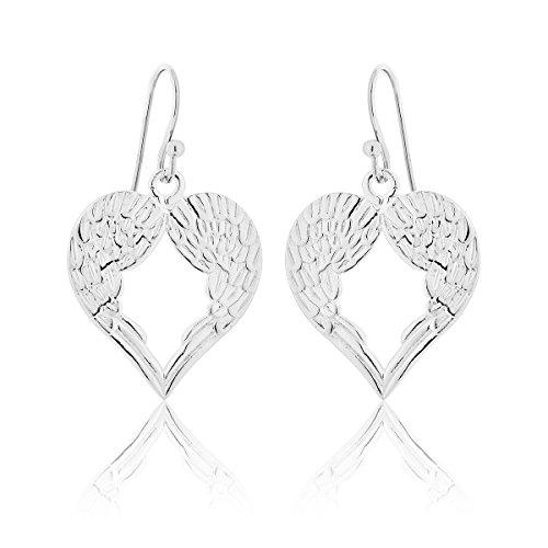 DTPSilver - 925 Sterling Silver Angel Wings/Heart Dangling Earrings
