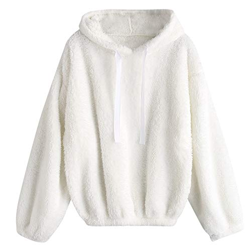 Rosegal Frauen Casual Fuzzy Kapuzenpulli Sweatshirt Solid Fleece Pullover Tops (EINHEITSGRÖSSE, Weiss)