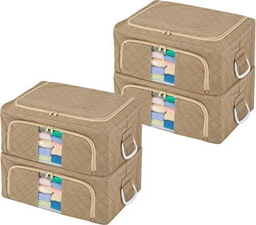 アストロ 衣装ケース 4個組 ワイド ベージュ 不織布 ワイヤー入り 活性炭消臭 620-60