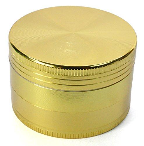 LIHAO Pollen Grinder Crusher für Spice,Kräuter,Gewürze,Herb,Kaffee 4-teiliges Set mit Pollen Scraper (Golden)