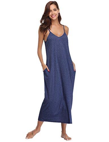 Aibrou Damen Baumwolle Lose Lange Nachthemd mit Verstellbare Träger Dunkelblau XL