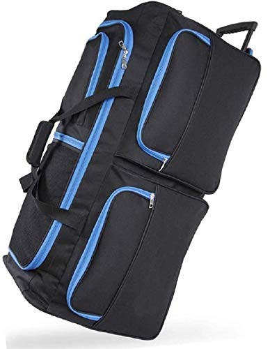 DK Luggage Travel Bag Wheeled Holdall Extra Large 34' Suitcase 3 Wheels Blue Trimming Black