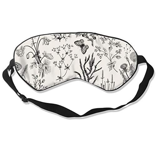 Herbs and Wild Flowers Botanical Illustration Pattern Óptima Máscara de sueño para máscara de ojos, adecuada para viajes, siesta, meditación, máscara de ojos con correa ajustable, masculino, hembra