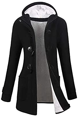VOGRYE Womens Winter Fashion Outdoor Warm Wool Blended Classic Pea Coat Jacket (FBA) (2XL, Black2-Thicker) from