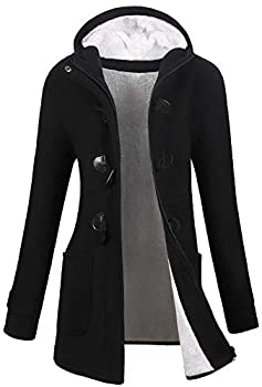 VOGRYE Womens Winter Fashion Outdoor Warm Wool Blended Classic Pea Coat Jacket  FBA   XL Black2-Thicker
