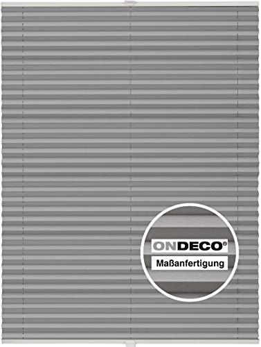 Plissee auf Maß für alle Fenster Montage Glasleiste Blickdicht mit Spannschuh Sonnenschutzrollo Hellgrau B: 151-160 cm, H: 40-100 cm