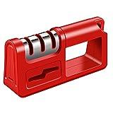 NBSXR -Afilador de Cuchillos de Cocina y afiladores de Tijeras, 4 en 1, afilador de Cuchillos para Exteriores, afilar Cuchillos de Forma Segura con tungsteno de Diamante para Cuchillo,Rojo