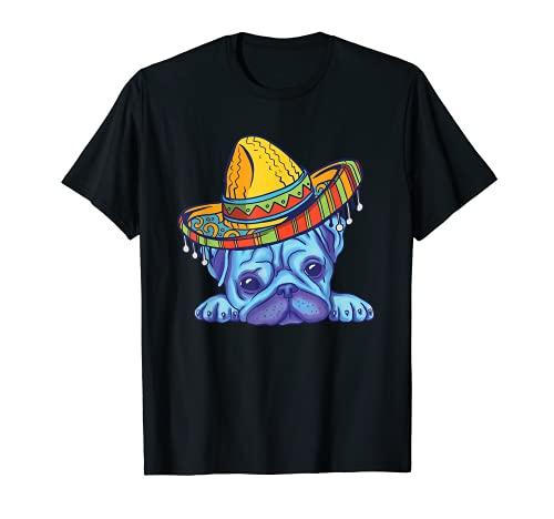 Disfraz de cachorro de perro de perro de pug de Cinco De Mayo Camiseta