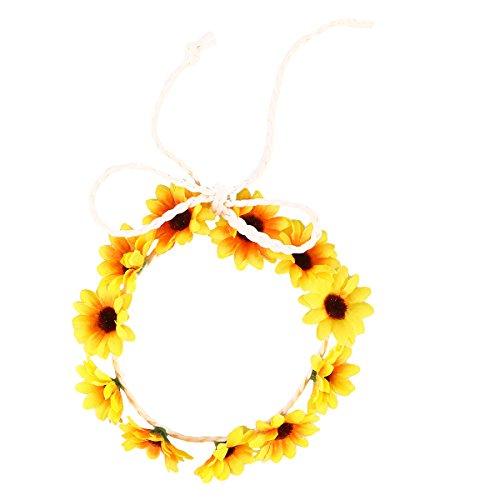 FRCOLOR Sonnenblume Krone Daisy Blume Stirnband Haar Kranz Braut Kopfschmuck Festivals Haarband (gelb)