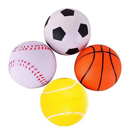 LaiXin Antistress-Bälle, Stress Ball, Massageball, Sportbälle für Kinder, Schaum Sports Ball Set Basketball, Fußball, Baseball, Tennisball - 4 STK Stressbälle